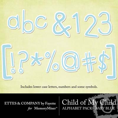 Chilc of My Child Boy Alphabet Pack for Digital Scrapbooking