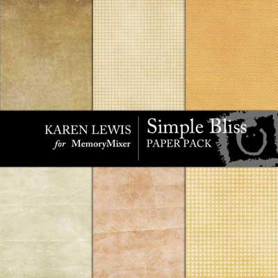 Simple Bliss Paper Pack for MemoryMixer digital scrapbooking