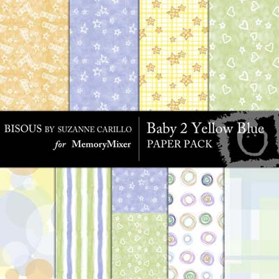 Baby 2 Yellow Blue Digital Backgrounds for MemoryMixer