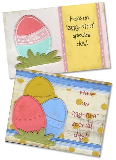 Easter Egg cards for embossing with templates from Lasting Impressions