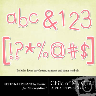 Child of My Child Coral Alphabet Pack for Digital Scrapbooking