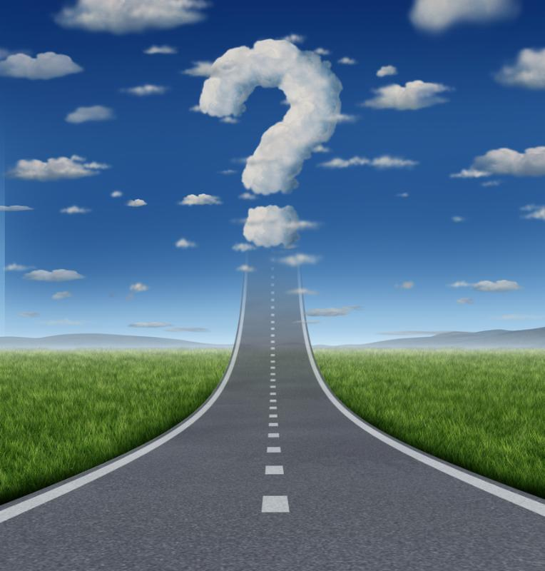 Success Questions and uncertain strategy with a road or highway going up to the sky fading into a...