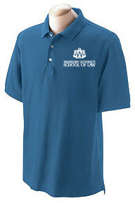 Men's blue polo shirt with white logo