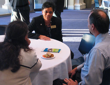 Director of Admissions Yolanda Ingram talks with open house guests