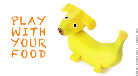 Photo of a dog made out of a banana with the words,