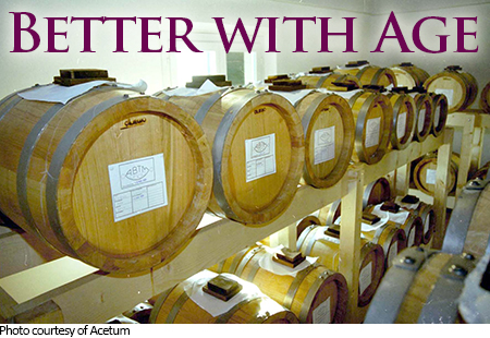 Better with Age. Image of wooden barrels used for aging balsamic vinegar.