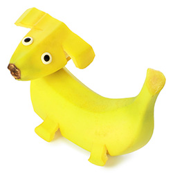 Dog made out of a whole banana.