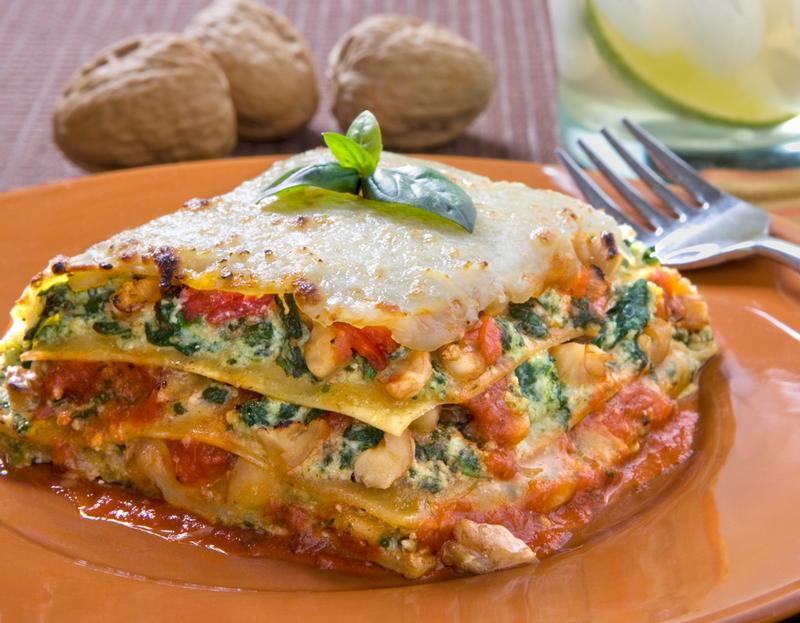 Spinach Lasagna with Walnut Pesto