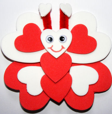 Picture of a foam heart butterfly craft