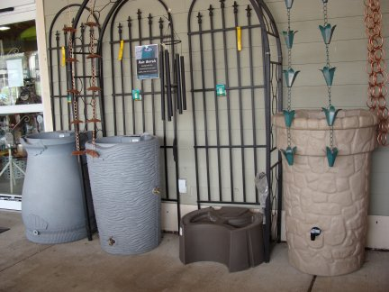 Rain barrels and rain chains available at Hillermann Nursery and Florist
