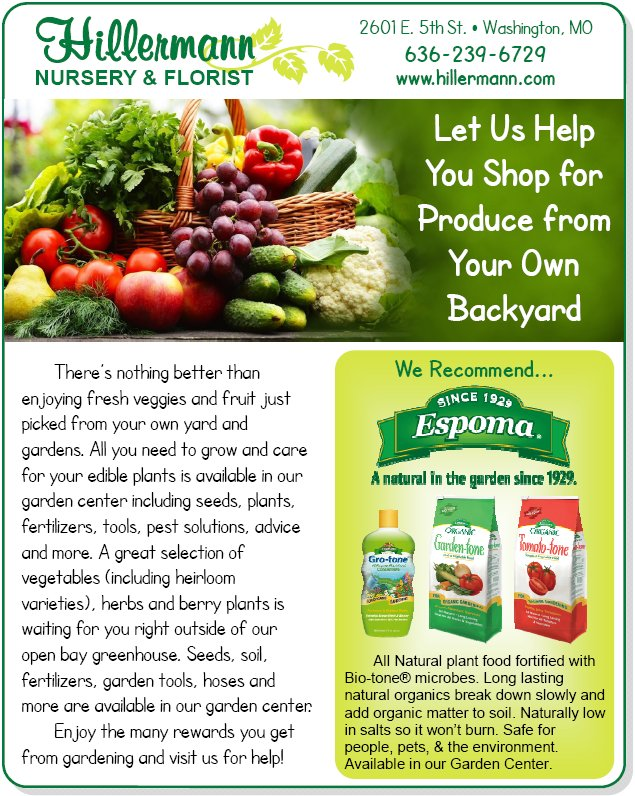 Let us help you shop for produce from your own backyard. We recommend Espoma organic plant food available in our Garden Center - picture and graphic