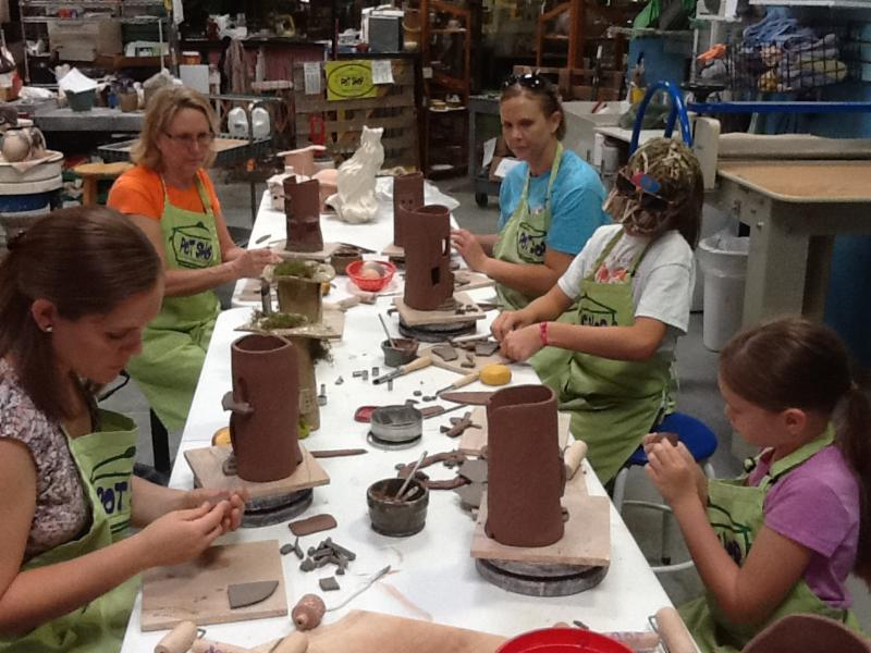 Pottery party group at the Pot Shop in Hillermann Nursery and Florist