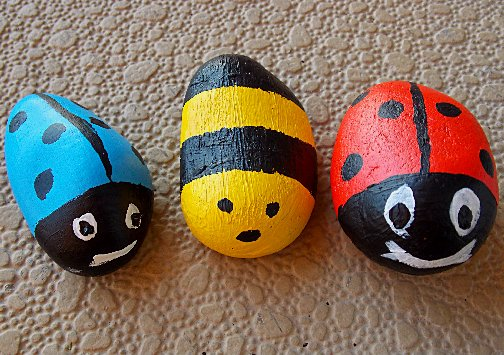 Painted rock paperweights