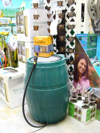 A rain barrel and rain chains available at Hillermann Nursery and Florist