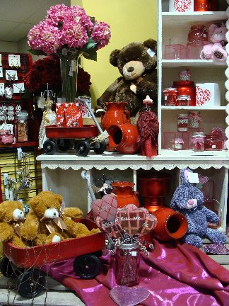 Valentine's Day display with items available at Hillermann Nursery and Florist