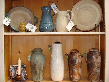 Hand crafted pottery items - made by artists in the Pot Shop at Hillermann Nursery and Florist