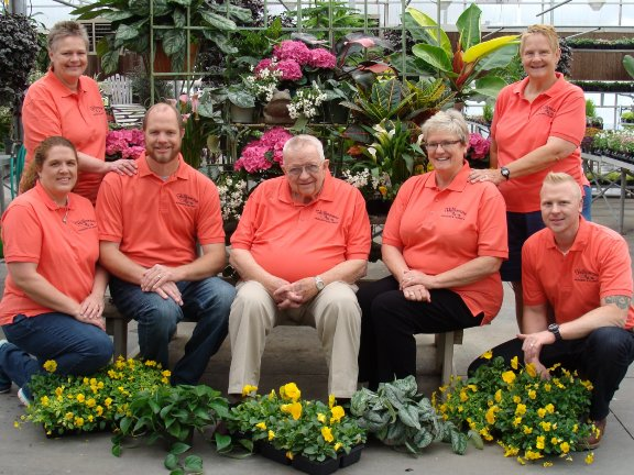 Hillermann family members on staff at Hillermann Nursery and Florist with Bernie Hillermann in March of 2016