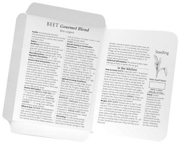 Botanical Interests seed packet inside information. Seeds available at Hillermann Nursery and Florist