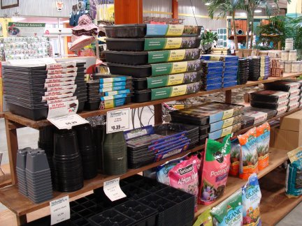 Seed starting supplies available at Hillermann Nursery and Florist