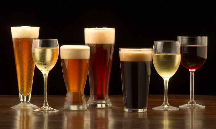 Picture of glasses of beer & wine