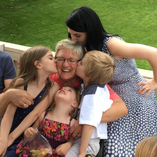 Sandi with her daughter Abbey and grand-kids on Mother's Day 2016