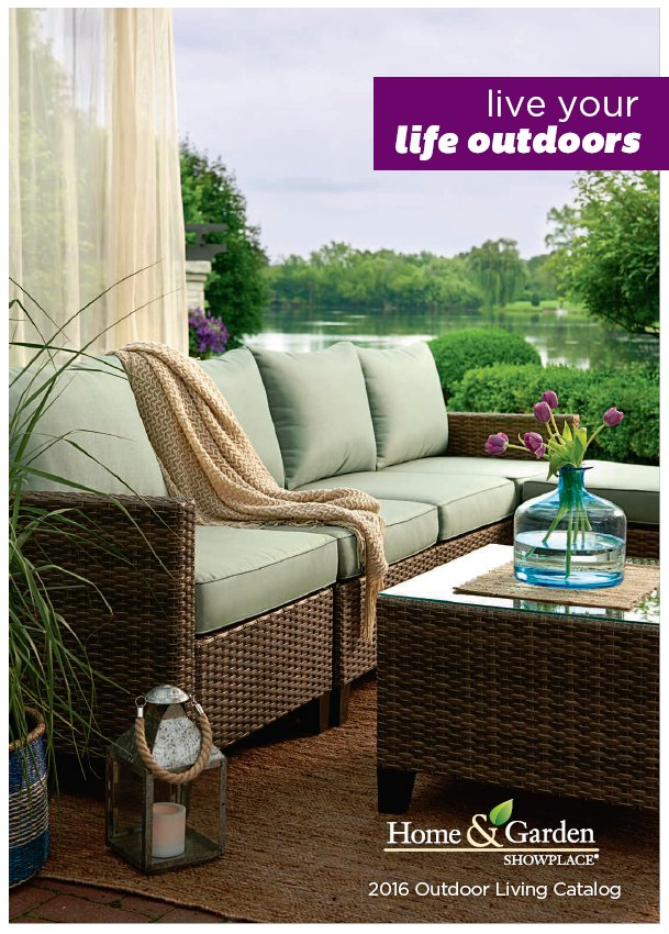 Photo and text graphic of the cover for the Home & Garden Showplace Outdoor Living catalog 2016