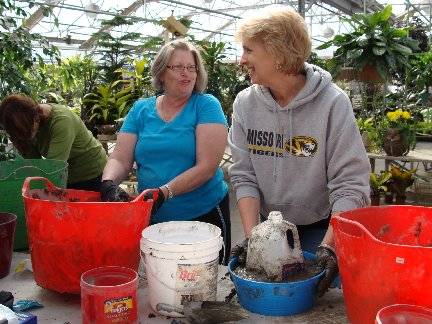 Hypertufa Container Make-N-Take Workshop participants at Hillermann Nursery and Florist