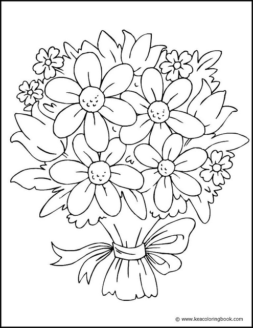 Coloring picture of a bouquet of flowers