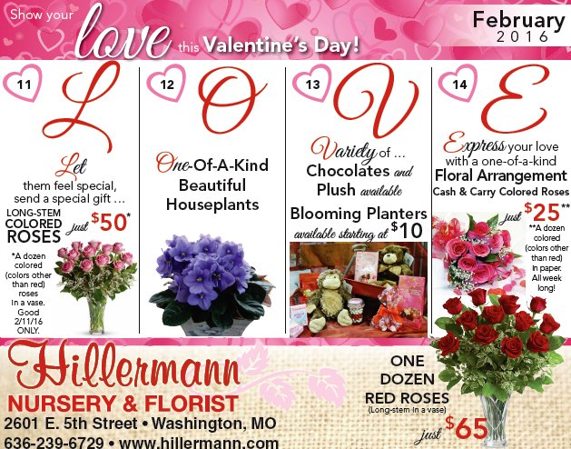 Valentine's Day 2016 ad for Hillermann Nursery and Florist with specials