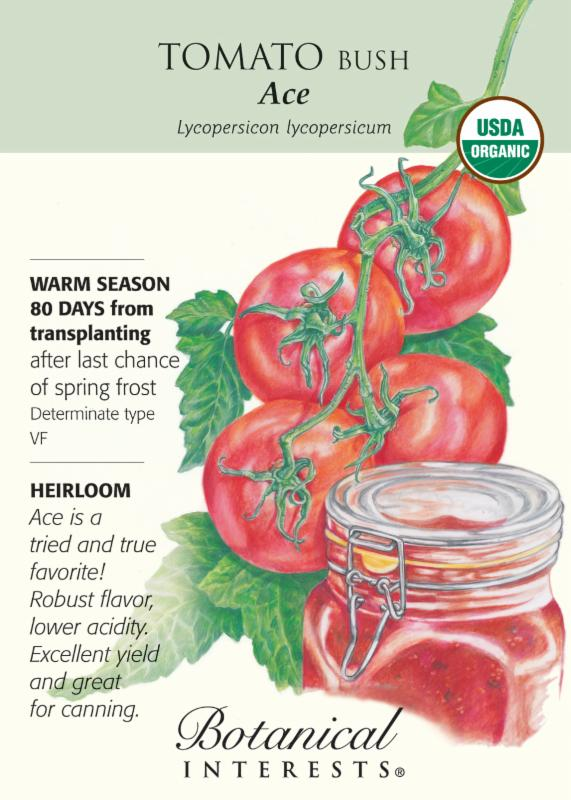 Botanical Interests tomato seed packet graphic