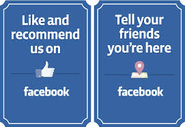 Like and check in Facebook graphic