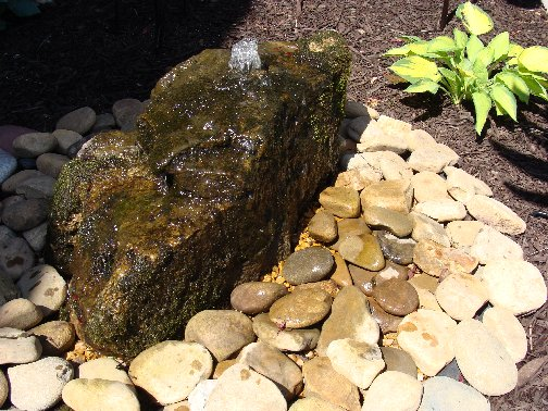 Rock bubbling water fountain at Hillermann Nursery and Florist