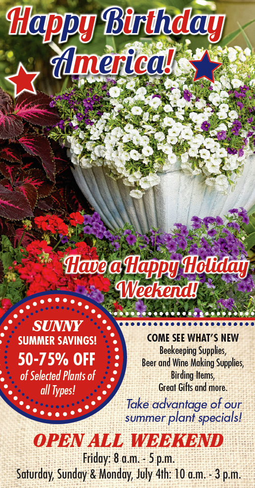 The Hillermann ad in the Missourian on 6-29-16. Happy Birthday America! Summer Specials and more! Hillermann Nursery and Florist, www.hillermann.com