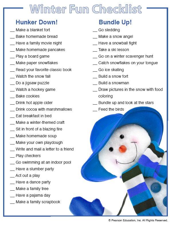Winter Fun Checklist graphic