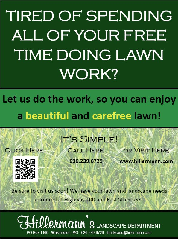 Lawn and landscape service brochure front cover. Services available at Hillermann Nursery and Florist