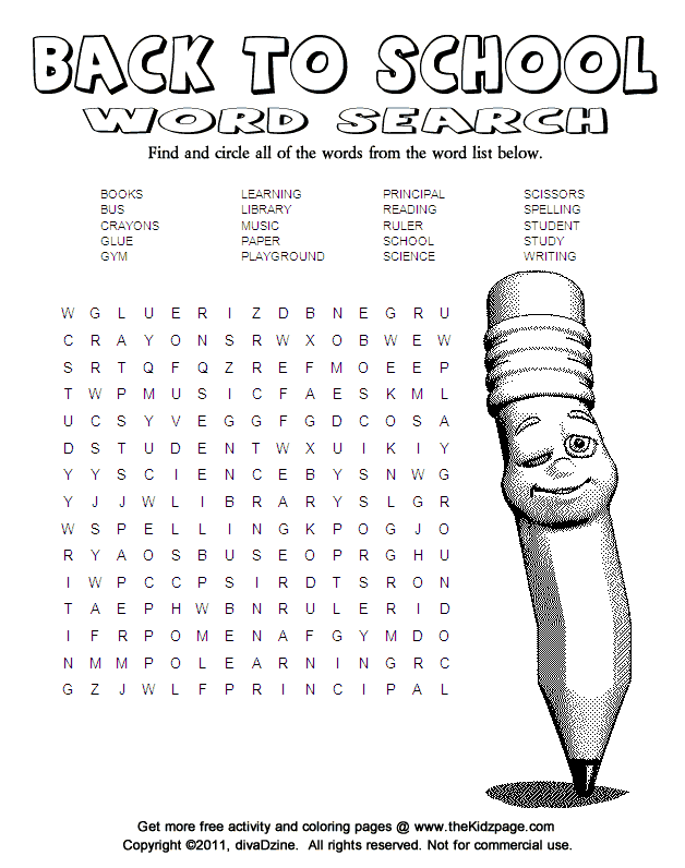 Back to school word search activity page