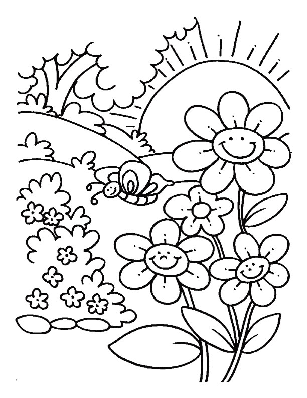 Spring coloring page with flowers, a butterfly and more