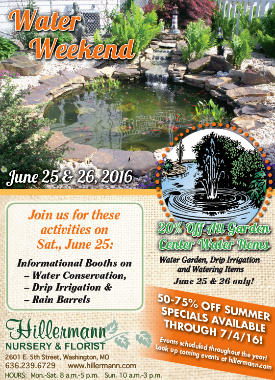Hillermann's newspaper ad for 6-22-16 with information on Water Weekend, Great specials and more!!