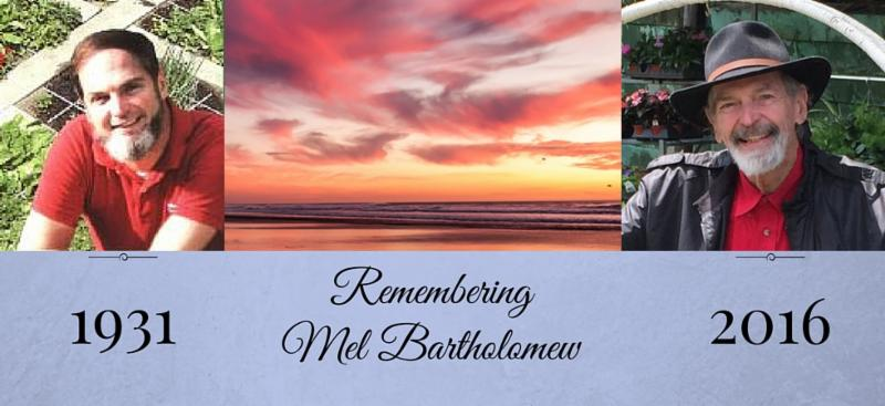 Remembering Mel Bartholomew pictures and text graphic from www.squarefootgardening.com