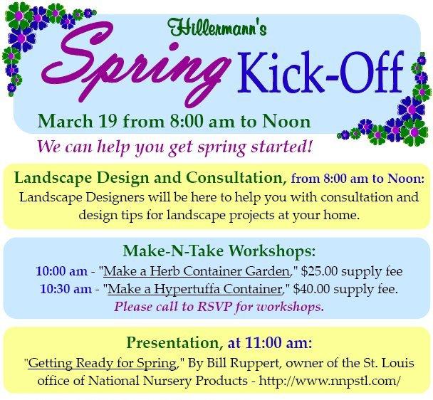Hillermann's Spring Kick-Off Graphic