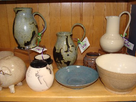 Hand-made pottery by the Pot Shop inside Hillermann Nursery and Florist. Finished pottery items available for purchase.