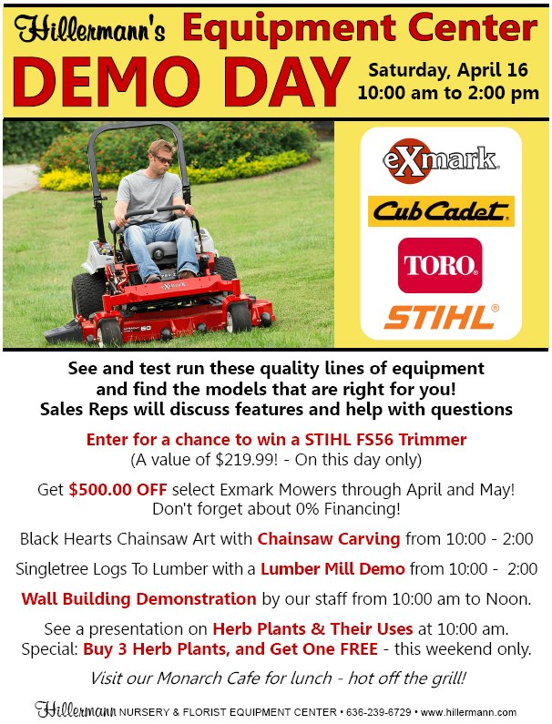 Equipment Center Demo Day, 4-16-16 from 10 am to 2 pm - Picture and text graphic