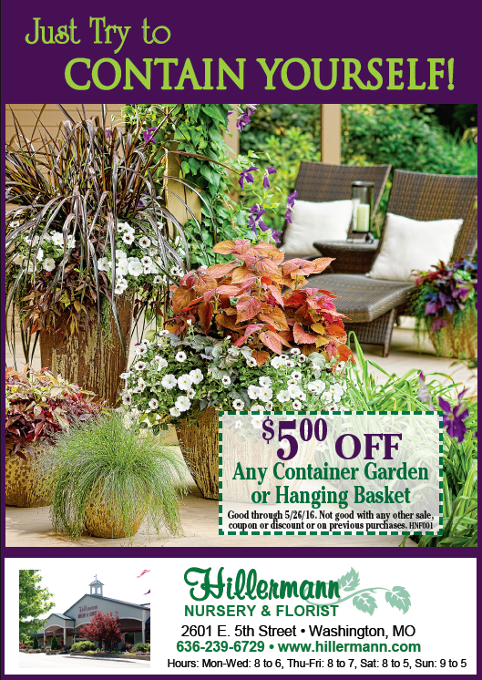 The Hillermann Nursery and Florist ad in the 5-18-16 Missourian Newspaper
