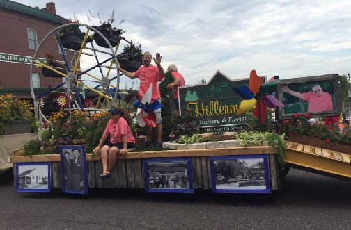 Photo of the Hillermann float in the 2016 Washington Town & Country Fair Parade - with some of the Hillermann family members