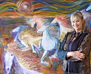 Janice and Riders of Justice painting