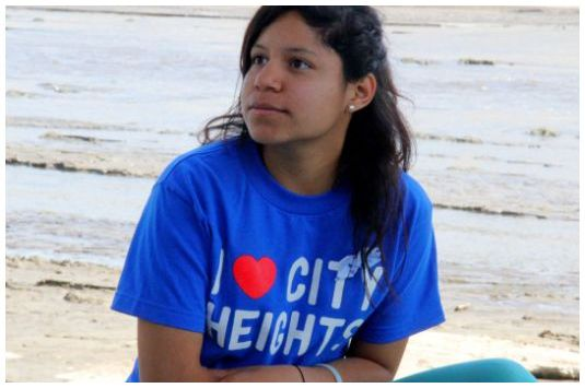 Angeli Hernandez, 17, learns about the Los Angeles River
