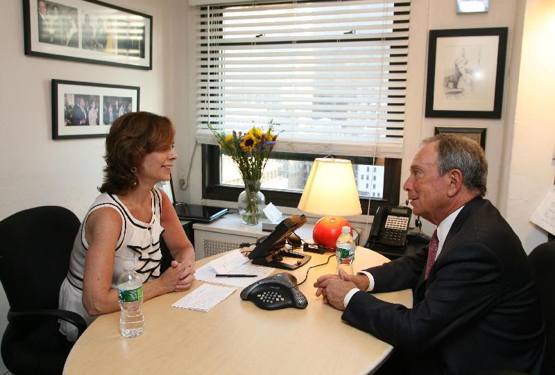Jackie Salit and Mayor Mike Bloomberg