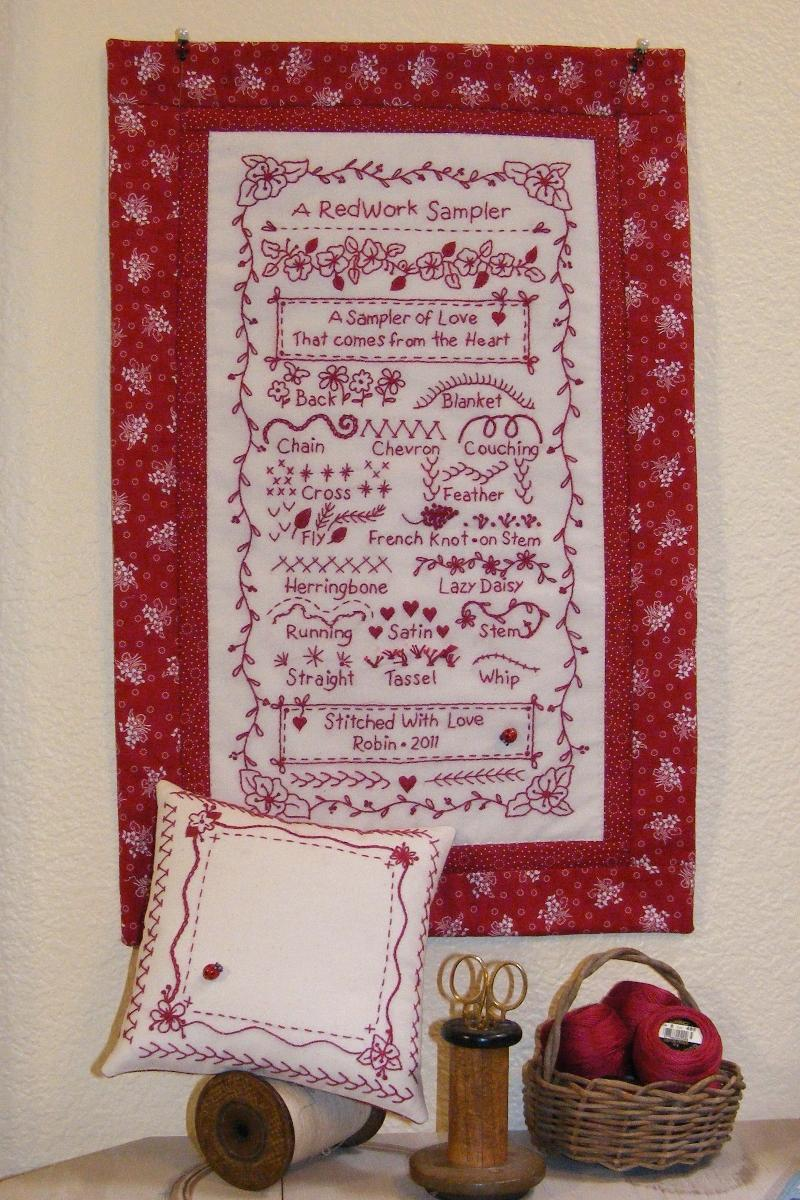 New redwork embroidery stitch sampler