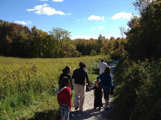 family walking in the fall