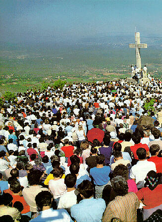 pilgrims on Cross Mountain